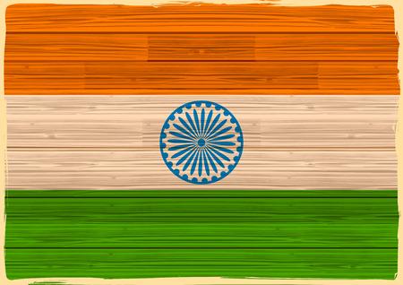 ashok: illustration of tricolor Indian Flag background in wooden texture Illustration