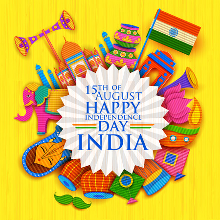 august: illustration of Happy Independence Day banner in Indian kitsch paper style