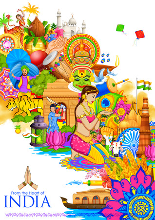 illustration of India background showing its culture and diversity with monument, dance and festival Ilustração
