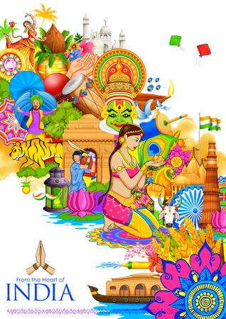 Illustration von Indien Hintergrund zeigt seine Kultur und Vielfalt mit Denkmal, Tanz und Fest Standard-Bild - 59996690