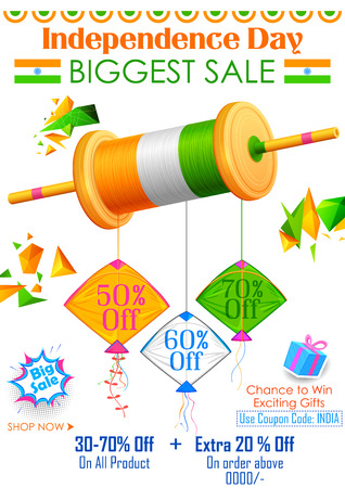 the day off: illustration of tricolor kite on India banner with Indian flag for sale and promotion Illustration