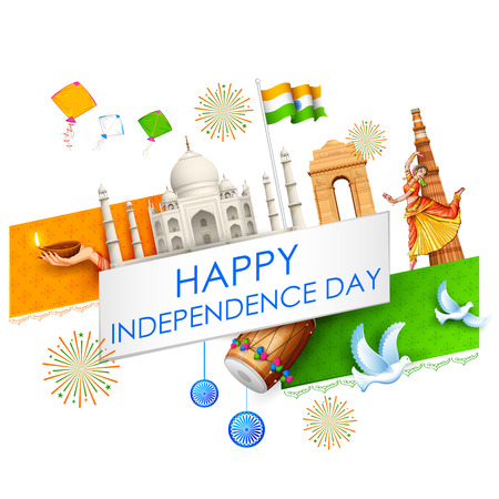 qutub minar: illustration of abstract Indian background with historical monument for Happy Independence Day of Indian Illustration