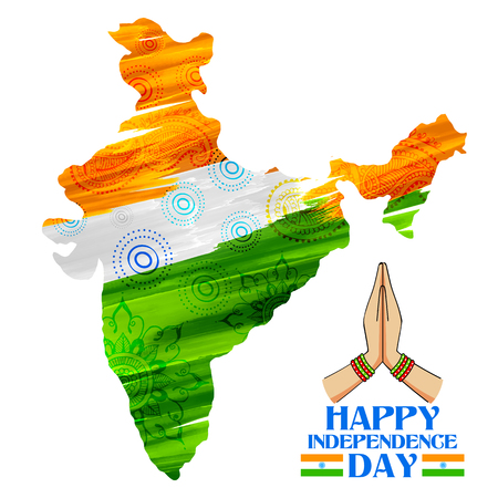 namaste: illustration of watercolor painting of Indian map for Happy Independence Day of Indian Illustration