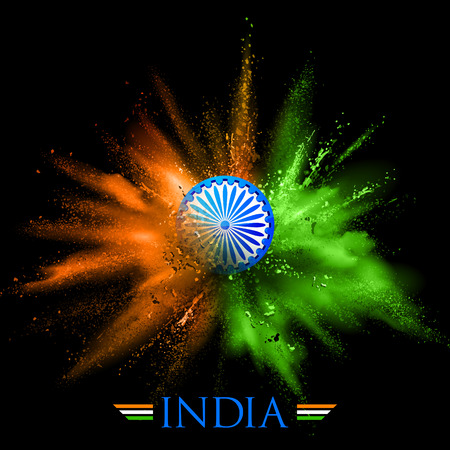 illustration of India background in tricolor and Ashoka Chakra with powder color explosion Reklamní fotografie - 59996697