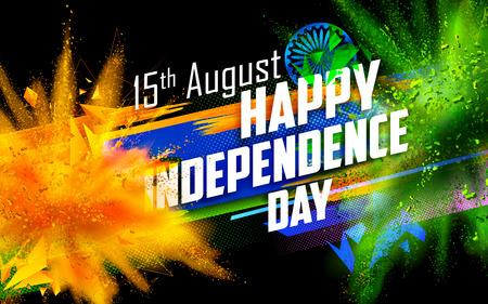 illustration de l'Inde en arrière-plan tricolore et Ashoka Chakra avec la couleur de la poudre explosion