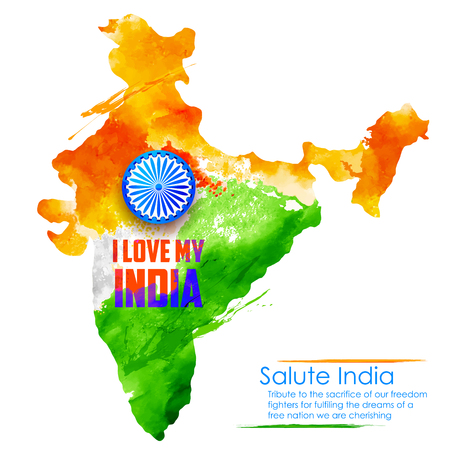 15 august: illustration of watercolor painting of Indian map fo I Love My India background Illustration