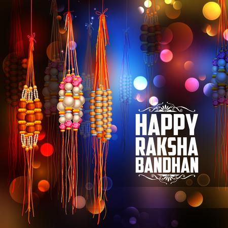 bonding: illustration of decorative Rakhi for Raksha Bandhan, Indian festival for brother and sister bonding celebration