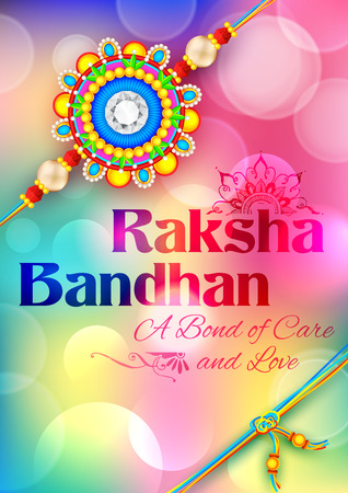 bonding: illustration of decorative Rakhi for Raksha Bandhan, Indian festival for brother and sister bonding celebration