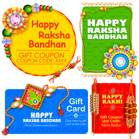 sisters: illustration of decorative Rakhi for Raksha Bandhan, Indian festival for brother and sister bonding celebration