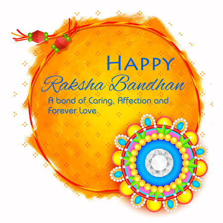 raksha: illustration of decorative Rakhi for Raksha Bandhan, Indian festival for brother and sister bonding celebration