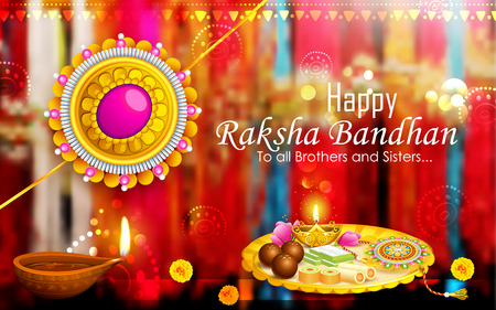 thali: illustration of decorative Rakhi for Raksha Bandhan, Indian festival for brother and sister bonding celebration