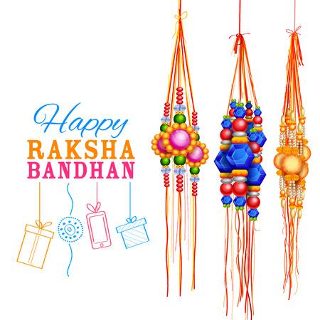 rakhi: illustration of decorative Rakhi for Raksha Bandhan, Indian festival for brother and sister bonding celebration