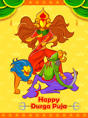 illustration of Happy Durga Puja background for Subho Vijoya