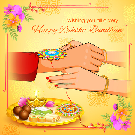 thali: illustration of brother and sister tying rakhi on Raksha Bandhan Illustration