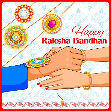 raksha: illustration of brother and sister tying rakhi on Raksha Bandhan Illustration
