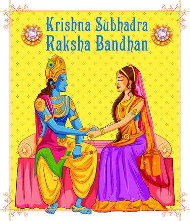 raksha: illustration of Subhadra tying Rakhi to Krishna on Raksha Bandhan