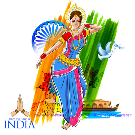 illustration of female dancer dancing on Indian background showing colorful culture of India Illustration