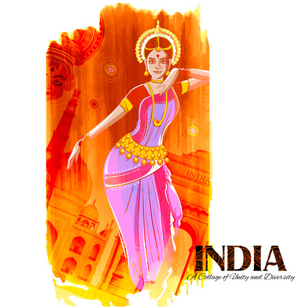 bharatanatyam: illustration of female dancer dancing on Indian background showing colorful culture of India Illustration