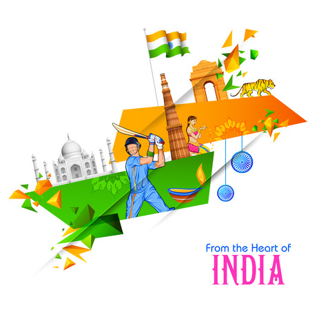 illustration of abstract Indian background with historical monument for Happy Independence Day of Indian Illustration