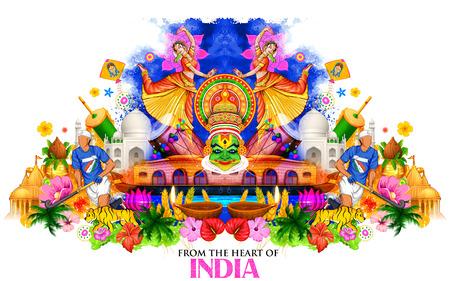 Ilustración de la India de fondo que muestra la cultura y la diversidad con el monumento, la danza y el festival
