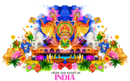 illustration of India background showing its culture and diversity with monument, dance and festival Vectores