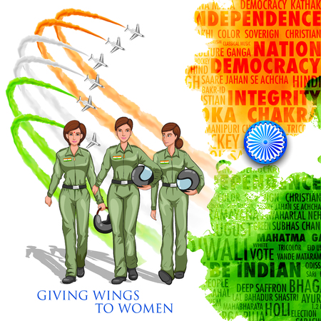 developing: illustration of women pilot on Indian background showing developing India