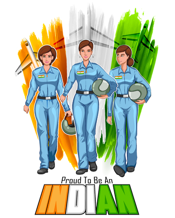 indian professional: illustration of women pilot on Indian background showing developing India