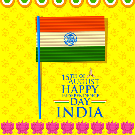 ashok: illustration of tricolor India Flag for Indian Happy Independence Day background