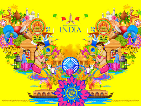 illustration of India background showing its culture and diversity with monument, dance and festival Vettoriali