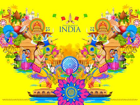 Ilustración de la India de fondo que muestra la cultura y la diversidad con el monumento, la danza y el festival Ilustración de vector