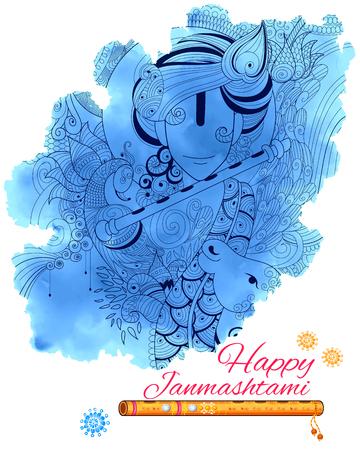 hinduismo: ilustración de Señor Krishana en Happy Janmashtami