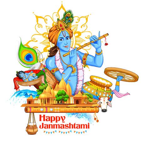 epic: illustration of Lord Krishana in Happy Janmashtami