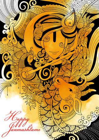 illustratie van Lord Krishana in Happy Janmashtami