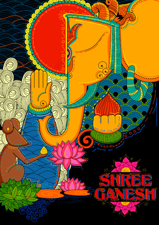 illustration of Lord Ganapati background for Ganesh Chaturthi Illustration