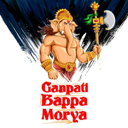 illustration of Lord Ganesha in paint style with text Ganpati Bappa Morya Oh Ganpati My Lord Illustration