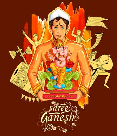Ilustración de fondo Señor Ganapati para Ganesh Chaturthi Vectores