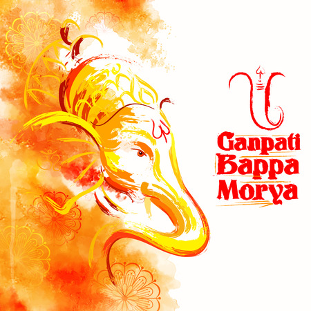 devotion: illustration of Lord Ganesha in paint style with text Ganpati Bappa Morya Oh Ganpati My Lord Illustration