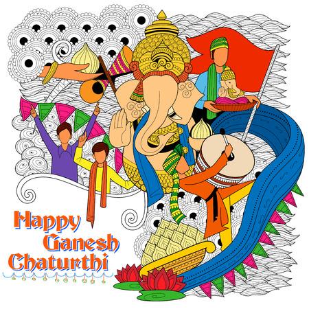 devotion: illustration of Lord Ganapati background for Ganesh Chaturthi Illustration