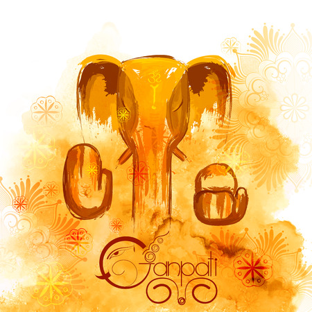 illustration of Lord Ganapati background for Ganesh Chaturthi in paint style Illustration