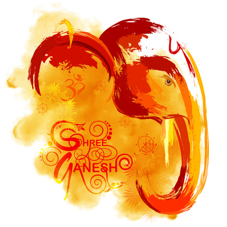 illustration of Lord Ganapati background for Ganesh Chaturthi in paint style 일러스트