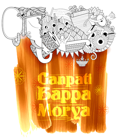 illustration of Lord Ganapati background for Ganesh Chaturthi with with text Ganpati Bappa Morya Oh Ganpati My Lord