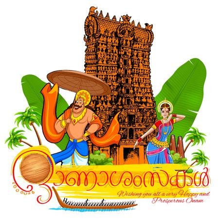 malayalam: illustration of festival background showing culture of Kerala with Malayalam message meaning Happy Onam Illustration