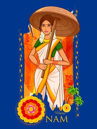 kerala: illustration of South Indian Keralite woman with tradition palm leaf umbrella, Olakkuda celebrating Onam Illustration
