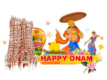 illustration of King Mahabali in Onam background showing culture of Kerala