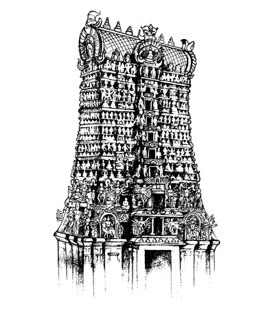 illustration of Meenakshi Amman Temple of Madurai, Tamil Nadu Illustration
