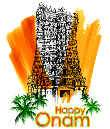 illustration of Meenakshi temple in Onam celebration background
