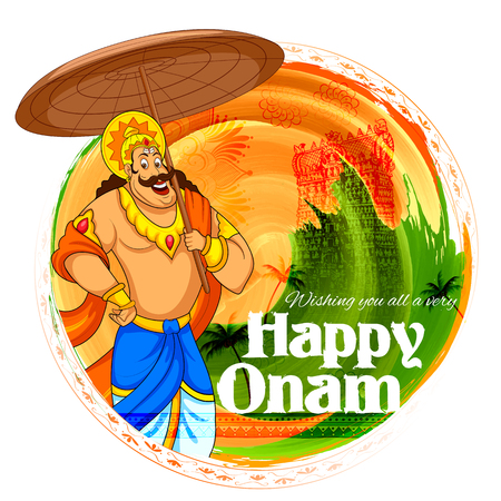 kerala culture: illustration of King Mahabali in Onam background showing culture of Kerala