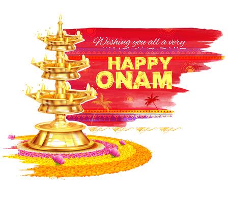 onam: illustration of Happy Onam background with rangoli and lamp