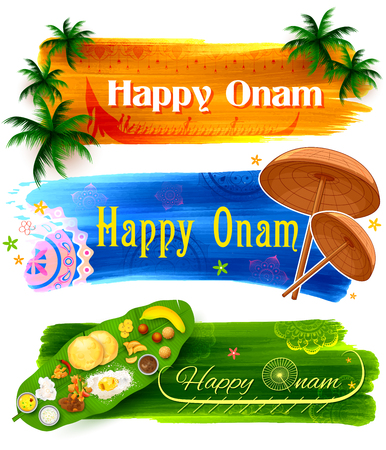 auspicious occasions: illustration of Happy Onam banner with traditional palm leaf umbrella and Sadya