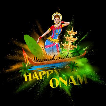 sravanmahotsav: illustration of Boat Race of Kerla with bharatanatyam dancer on Onam Illustration